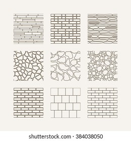 Simple seamless texture - brick, stone wall. Vector set.