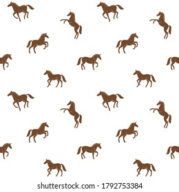 Simple seamless trendy animal pattern with silhouette of horse. Cartoon vector illustration.