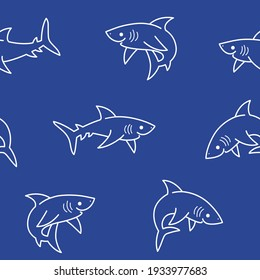 Simple seamless trendy  pattern with shark. Vector contour design print.