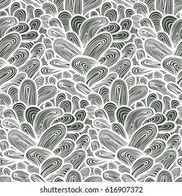 Simple seamless wave pattern rounded with lines or abstract mushrooms with streaks