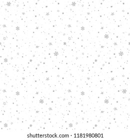 Simple seamless winter pattern with grey snowflakes on white background. Minimalist vector illustration