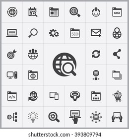 Simple seo icons set. Universal seo icon to use for web and mobile UI, set of basic seo elements