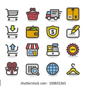 Simple Series   Network,Shopping icon set