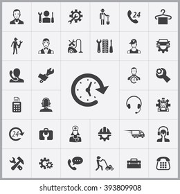 Simple service icons set. Universal service icons to use for web and mobile UI, set of basic UI service elements