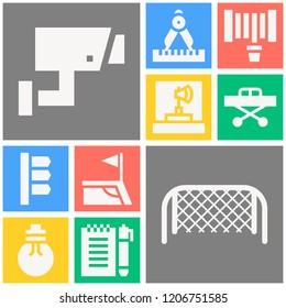 Simple set of  10 filled icons on following themes bulb, notebook, stretcher, hosepipe, football field corner, soccer goal net, cctv, compass web icons with high quality