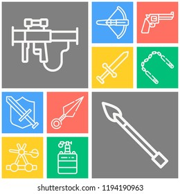 Simple set of  10 outline icons on following themes catapult, knight, kunai, spear, nunchaku, crossbow, shield, revolver, mine web icons with high quality