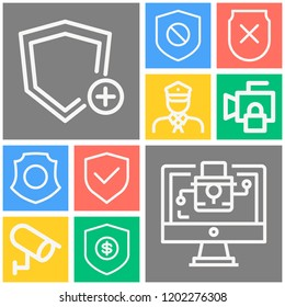 Simple set of  10 outline icons on following themes policeman, cctv, security, shield with cross web icons with high quality