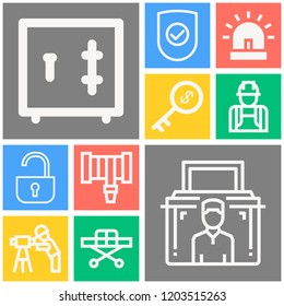 Simple set of  10 outline icons on following themes siren, stretcher, hosepipe, shield with check mark, safe box, key, personal security, padlock web icons with high quality