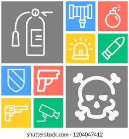 Simple set of  10 outline icons on following themes danger, siren, revolver, bullet, hosepipe, bomb, pistol, shield with diagonal stripes, cctv web icons with high quality