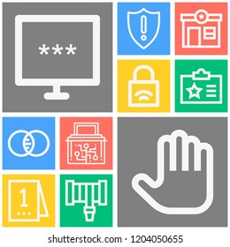 Simple set of  10 outline icons on following themes   crime scene, id card, police station, hosepipe, padlock, cyber security web icons with high quality