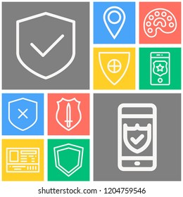 Simple set of  10 outline icons on following themes smartphone, shield with sword, shield with cross, shield, palette, pin web icons with high quality