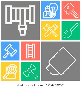 Simple set of  10 outline icons on following themes spoon, keyword, axe, carpentry, ladder, hosepipe, key, eraser, hammer web icons with high quality