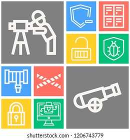 Simple set of  10 outline icons on following themes police line, lock, hosepipe, security, padlock, shield, locker, engineer web icons with high quality