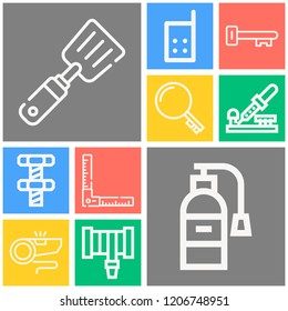 Simple set of  10 outline icons on following themes keywords, ruler, spatula, whistle, fire extinguisher, hosepipe, walkie talkie, key, screw web icons with high quality