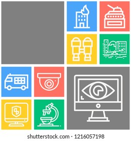 Simple set of  10 outline icons on following themes binoculars, police car, building, monitor, visibility, cctv, pencil case, park, microscope web icons with high quality