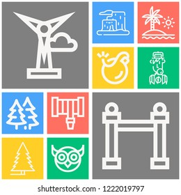 Simple set of  10 outline icons on following themes mountain, beach, tree, forest, owl, hosepipe, bomb, son, windmill web icons with high quality