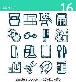 Simple set of 16 icons related to tool outline such as chemical reaction, magnet, cutlery, canvas, magazine, mirror, flight information, calculator, analytics symbols