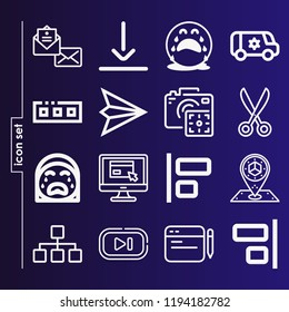 Simple set of 16 icons related to interface outline such as envelope, scissors, next, align, bottom, comment, diagram, placeholder, digital camera, van, toolbar symbols