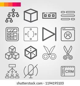 Simple set of 16 icons related to interface outline such as scissors, microphone, next, hierarchical structure, flow, cube, browser, table, calculator, toolbar, crm symbols