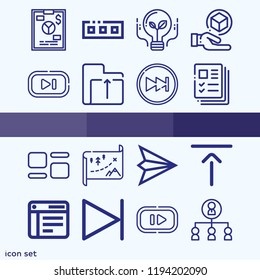 Simple set of 16 icons related to interface outline such as next, top alignment, file, organization, 3d cube, maps, table, folder, idea, toolbar, crm, profiles symbols