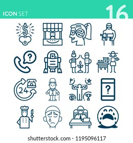 Simple set of 16 icons related to people outline such as thinking, ceo office, chef, terrorist, r2d2, key, 24 hours, customer service, telephone, comic actor symbols