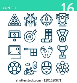 Simple set of 16 icons related to sport outline such as objective, billiard, coach, bike, goal, medal, trophy, corpse, target, soccer, socks, offside, cheering symbols