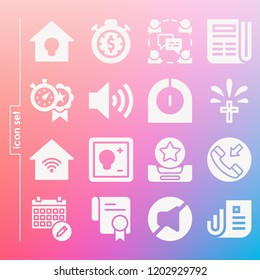 Simple set of 16 icons related to interface filled such as diploma, newspaper, stopwatch, timer, inbox, message, hang, volume, mute, calendar, cross, switch symbols