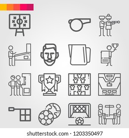 Simple set of 16 icons related to game outline such as tactics, trophy, soccer, whistle, offside, football team, player, goal, pitcher, winner, pinball, arcade symbols