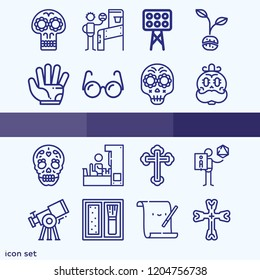 Simple set of 16 icons related to art outline such as parchment, skull, cross, glove, lights, blush, rol game, glasses, telescope, arcade symbols