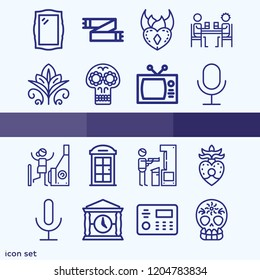 Simple set of 16 icons related to vintage outline such as microphone, television, skull, heart, flower, scarf, phone booth, alarm, trading card, mirror, arcade symbols