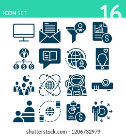 Simple set of 16 icons related to technology filled such as message, service, computer, email, analytics, business, worldwide, projector, businessmen, skills, chat symbols