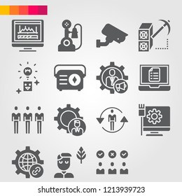 Simple set of 16 icons related to technology filled such as levels, monitor, idea, link, businessman, settings, skills, student, customers, laptop, management, mining symbols