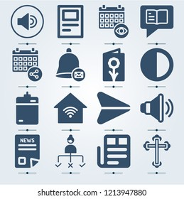 Simple set of 16 icons related to interface filled such as postcard, contrast, harddrive, newspaper, send, volume, speaker, bell, calendar, chat, user, cross symbols