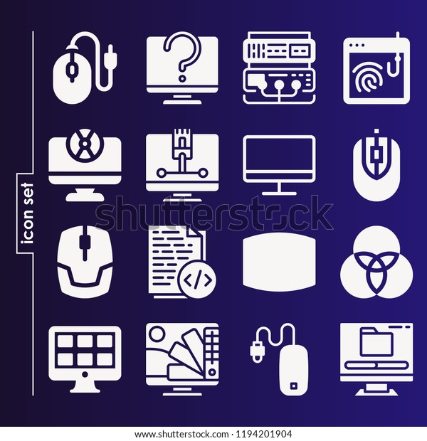 Simple Set 16 Icons Related Computer Stock Vector (Royalty