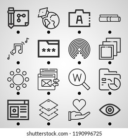 Simple set of  16 outline icons on following themes love, earth globe, keyword, keywords, drawing, eye, user profile, circles, music, data web icons with high quality