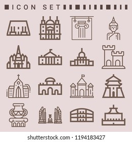 Simple set of  16 outline icons on following themes capitol, abu simbel, pula arena, chiang kai shek, saint paul, alcala gate, white house web icons with high quality