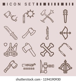 Simple set of  16 outline icons on following themes tools, axe, bow, knife, bones, gun, nunchaku, crossbow, catapult, mace, weapons web icons with high quality