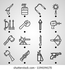 Simple set of  16 outline icons on following themes mace, gun, arrow, axe, knife, nunchaku, crossbow, spear, mine, machine gun web icons with high quality