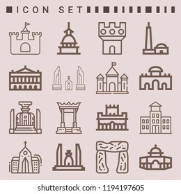 Simple set of  16 outline icons on following themes alhambra, qutb minar, palais garnier, mole antonelliana, alcala gate, dome web icons with high quality