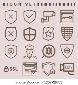 Simple set of  16 outline icons on following themes ssl, shield, shield with cross, cctv, policeman, web security web icons with high quality