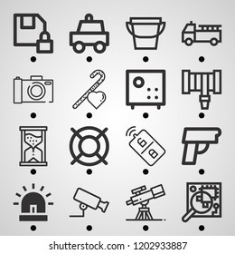 Simple set of  16 outline icons on following themes siren, hosepipe, bucket, fire truck, lifesaver, pistol, cctv, police car, diskette web icons with high quality