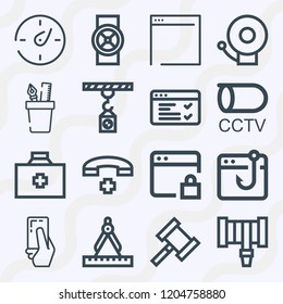 Simple set of  16 outline icons on following themes browser, compass, fire alarm, first aid kit, telephone, hosepipe, red card, cctv, pencil case web icons with high quality