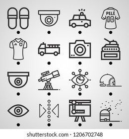 Simple set of  16 outline icons on following themes eye, visibility, slippers, camera, police car, fire truck, football shirt, cctv, reflect web icons with high quality