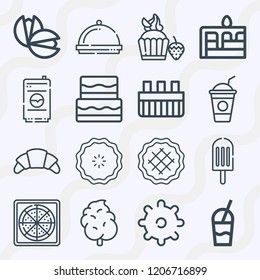 Simple set of  16 outline icons on following themes dinner, croissant, pizza, cake, popsicle, cotton candy, cupcake, cookie, pistachio, drink web icons with high quality