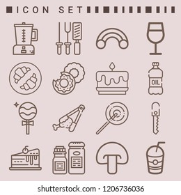Simple set of  16 outline icons on following themes lollipop, cake, knife, salt, blender, cutlery, croissant, oil, churros, donut, mushroom web icons with high quality