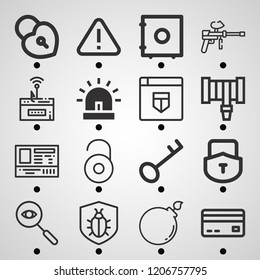 Simple set of  16 outline icons on following themes paintball, bomb, security, phishing, credit card, siren, hosepipe, padlock, spy, safebox web icons with high quality