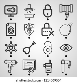 Simple set of  16 outline icons on following themes hood, eye, shield, bomb, uzi, axe, fingerprint, sheriff, walkie talkie, hosepipe, key web icons with high quality