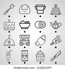 Simple set of  16 outline icons on following themes dish, spatula, teapot, knife, juice, croissant, onigiri, dango, stand, cup cake, cake, salad web icons with high quality