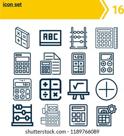Simple set of  16 outline vector icons such as calculator, blackboard, mathematics, abacus   web icons with high quality on following themes
