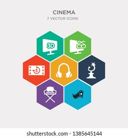 simple set of 3d video, director film chair, trophy with a star, headphone icons, contains such as icons movie countdown, 3 dimension screen, 3d movie and more. 64x64 pixel perfect. infographics